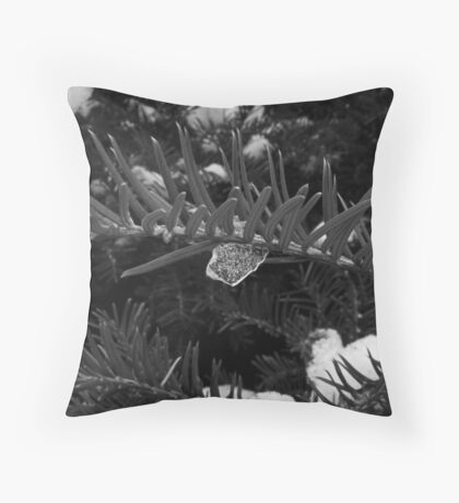 Icecles in the garden in black and white  Throw Pillow