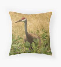 Sandhill Crane Skirted in Green Leaf Throw Pillow