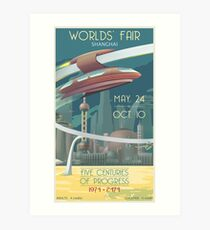 Futuristic Earth Travel Poster Art Print