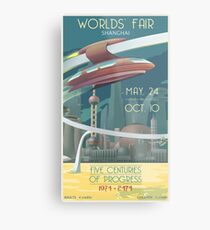 Futuristic Earth Travel Poster Metal Print