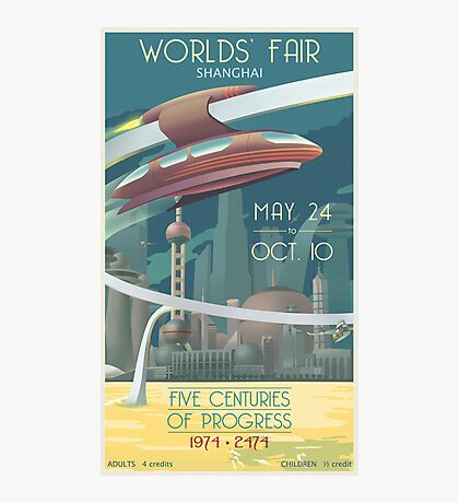 Futuristic Earth Travel Poster Photographic Print