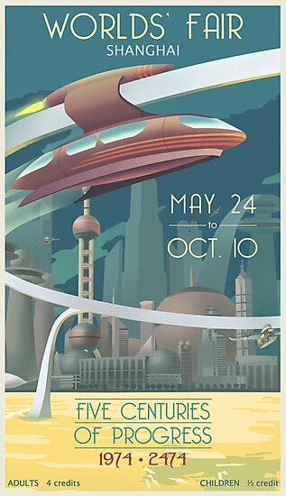 Futuristic Earth Travel Poster by stevethomasart