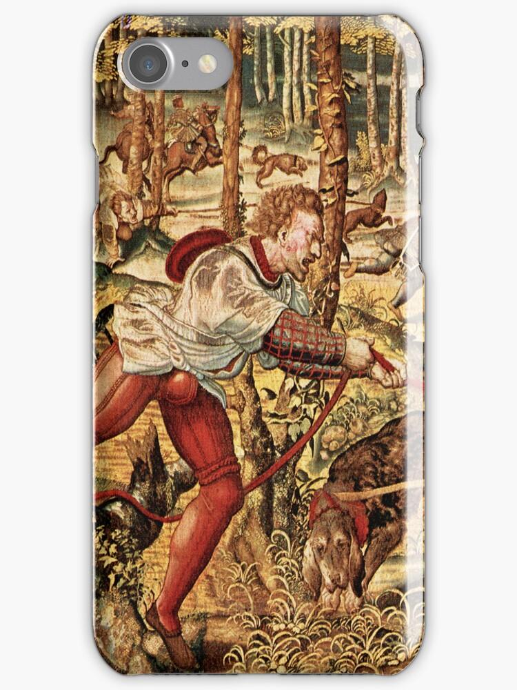 Pastel Brown Tones Hunt Scene-From Maximilian's Tapestry Series by artonwear
