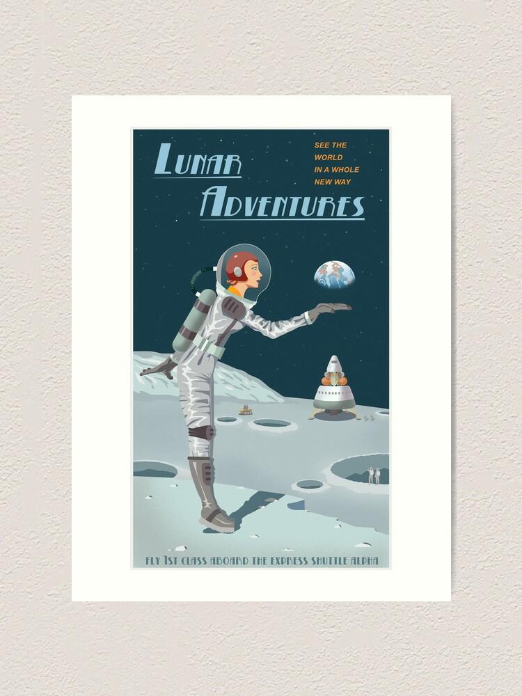 Alternate view of Moon Travel Poster Art Print