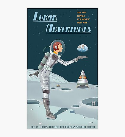 Moon Travel Poster Photographic Print
