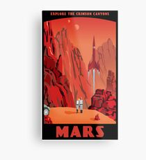 Mars Travel Poster Metal Print