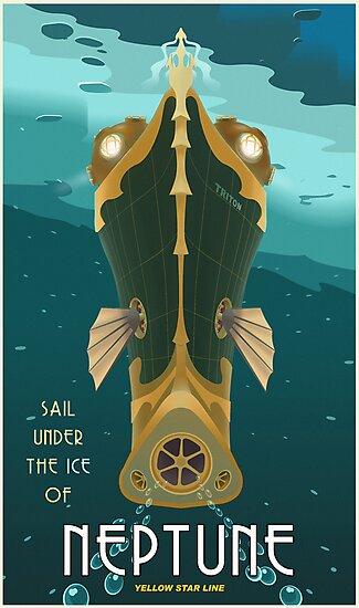 «Cartel de viaje de Neptuno» de stevethomasart