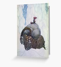 Jullbocken The Yule Goat Being Ridden By A Child Greeting Card