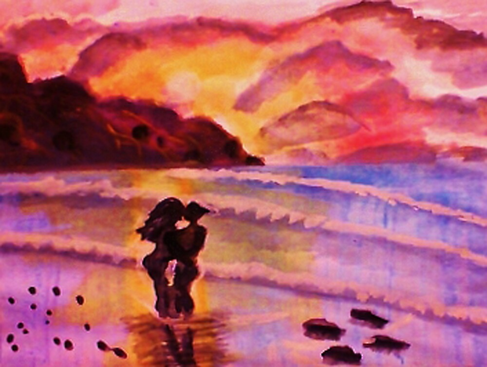 Sunset kiss, watercolor by Anna  Lewis, blind artist