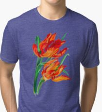 Bright Red Flamboyant Parrot Tulips Tri-blend T-Shirt