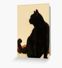 Side View Silhouette of A Black Cat Sitting On A Roof Greeting Card