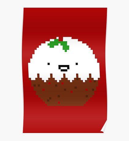 Cute Christmas Pixel Pud Poster