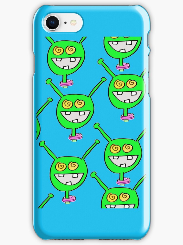 Martian iPhone case with even MORE Extry Martians! by Ollie Brock
