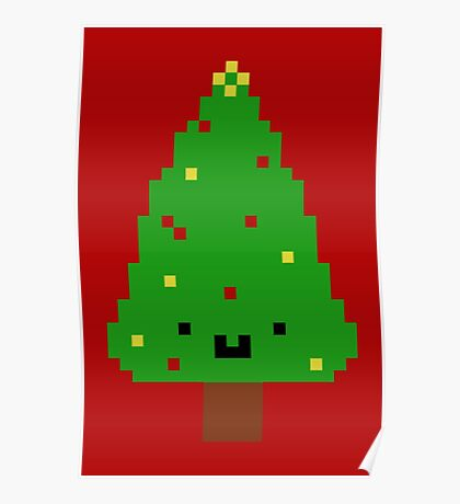 Cute Christmas Pixel Tree Poster
