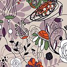 Abstract Cute Retro Flowers And Birds Design by artonwear