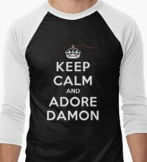 Keep Calm and Adore Damon From Vampire Diaries DS Men's Baseball ¾ T-Shirt