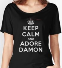 Keep Calm and Adore Damon From Vampire Diaries DS Women's Relaxed Fit T-Shirt