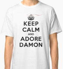 Keep Calm and Adore Damon From Vampire Diaries LS Classic T-Shirt