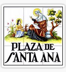 Plaza de Santa Ana, Madrid Street Sign, Spain Sticker