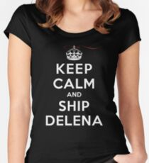Keep Calm and SHIP Delena (Vampire Diaries) DS Women's Fitted Scoop T-Shirt