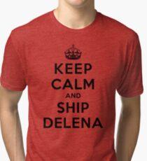 Keep Calm and SHIP Delena (Vampire Diaries) LS Tri-blend T-Shirt