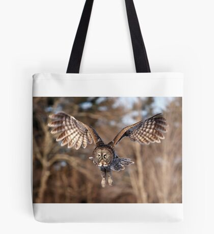 Great Grey Owl swoops down Tote Bag