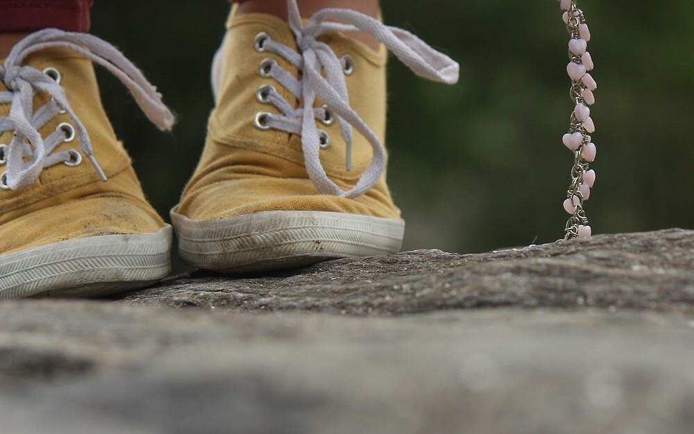 Yellow Keds with a Chain of Hearts by Callie Smith
