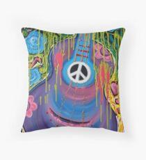 Peace Guitar - Hippie Abstract Art Throw Pillow