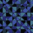 Unique Bold Hip Blue Cyan Grey Black Geometric Pattern by Shelley Neff
