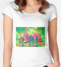 Sea of Green With Cubist Abstract Junks Women's Fitted Scoop T-Shirt
