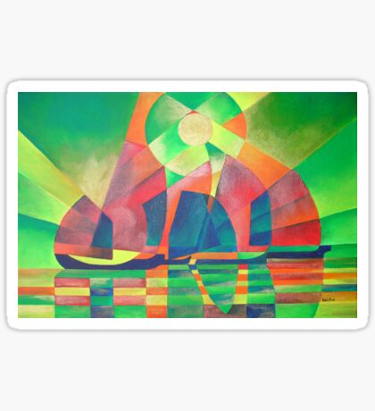 Sea of Green With Cubist Abstract Junks Sticker