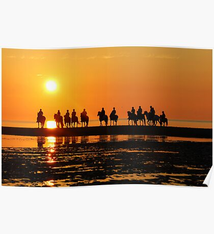 Evening ride at sunset Poster