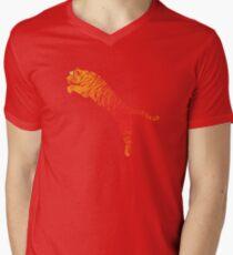 Tiger jump bright Mens V-Neck T-Shirt