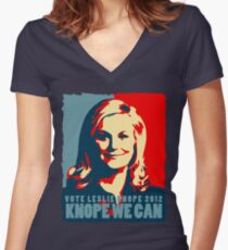 Knope We Can 2012 Women's Fitted V-Neck T-Shirt