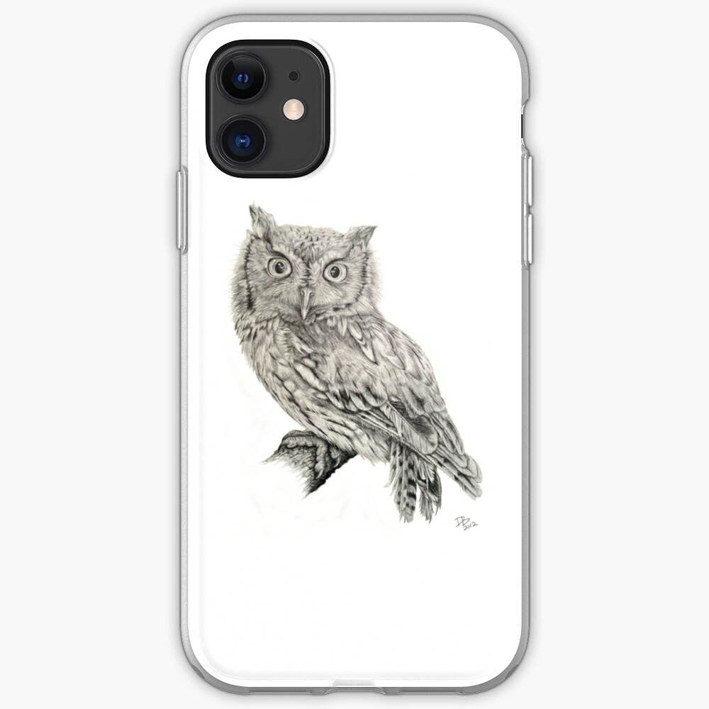 Eastern Screech Owl (Megascops asio), 2012, Pencil iPhone Case & Cover