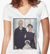 MOM AND DAD WEDDING Women's Fitted V-Neck T-Shirt