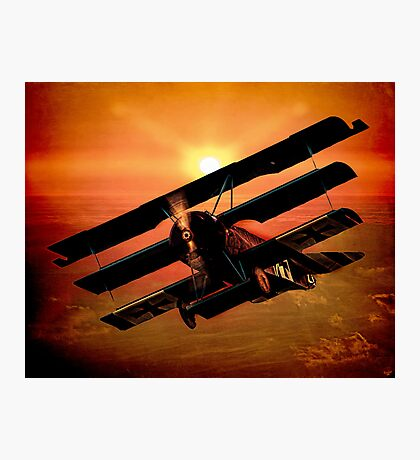 The Bloody Red Baron's Fokker at Sunset Photographic Print