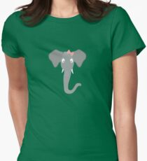 Elephant head with pink ribbon Womens Fitted T-Shirt