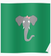 Elephant head with pink ribbon Poster