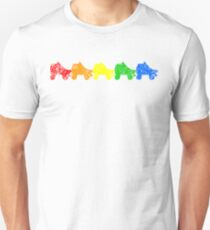 Regenbogen-Skates Slim Fit T-Shirt