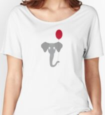 Elephant head with red balloon Women's Relaxed Fit T-Shirt