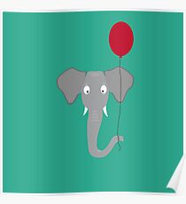 Elephant head with red balloon Poster