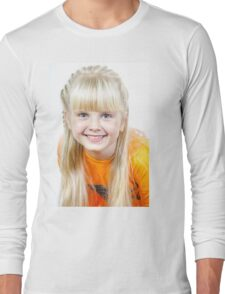 Cute little towhead girl portrait isolated on white background Long Sleeve T-Shirt