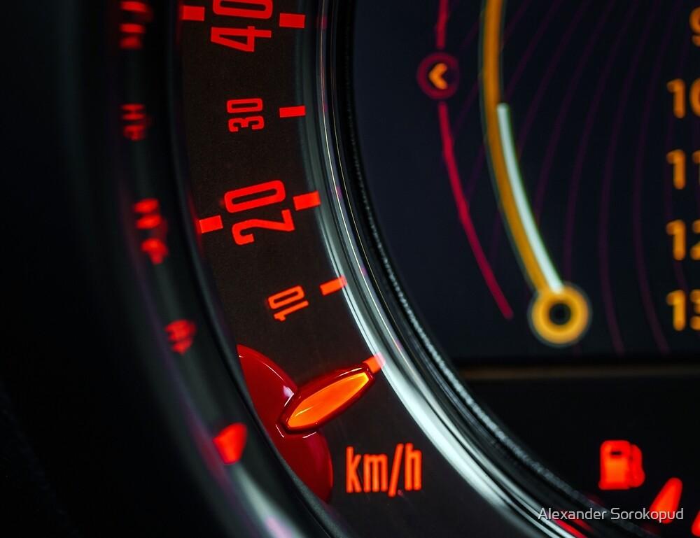 Elegant speed control dashboard by modern sport car by Alexander Sorokopud