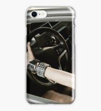Girl at the luxury sport car wheel iPhone Case/Skin