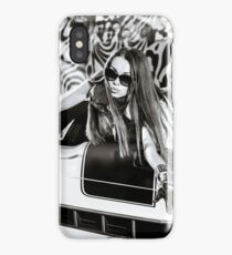 Luxury glamour girl posing with yellow sport car iPhone Case/Skin