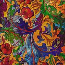 Colorful Vintage Floral Swirls Design by artonwear