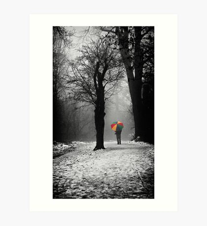 A Lonely Winters Walk Art Print