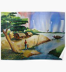 Village landscape of Bangladesh Poster