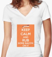 Rub Some Bacon on It  Women's Fitted V-Neck T-Shirt
